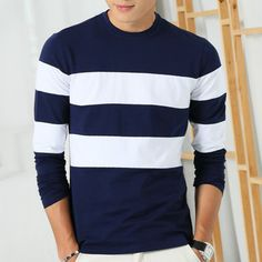 00a816e4172 Liseaven 2017 New Autumn Winter Mens Long Sleeve T Shirt O Neck Striped T  Shirt for Men-in T-Shirts from Men s Clothing   Accessories on  Aliexpress.com ...