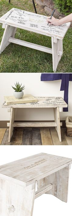 Create everlasting memories for your bridal shower, baby shower, housewarming party, birthday, graduation, or any occasion with this decorative rustic antiqued wood memory signature bench personalized with 2 lines of custom print or large initial. Set the bench in a location at your party or shower for guests to sign as they arrive and mingle. A Unique and personal gift, this bench can be ordered at http://myweddingreceptionideas.com/personalized-rustic-decorative-wood-bench.asp