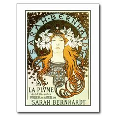 Vintage art nouveau Mucha Sarah Bernhardt ad Postcards, posters and other gifts