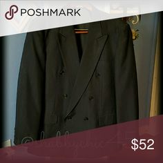 Mens Double Breasted Suit Coat Navy double breasted jacket with light maroon pinstripes.  In excellent condition and priced to sell.   Smoke free home. Open to reasonable offers unless marked as firm.? Please no trades or low balls. Happy Poshing!! Giorgio Fellini Suits & Blazers Sport Coats & Blazers