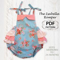 newborn sewing pattern | Baby sewing pattern for romper sunsuit, PDF Sewing…