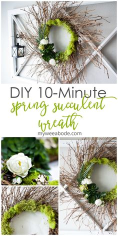 This easy and beautiful faux succulent wreath is the perfect addition to your spring decor. Whether you display it indoors or on the outside of your entry door, this 10-minute early spring wreath is easy and affordable to make! #myweeabode #succulentwreath #springdecor #diyproject
