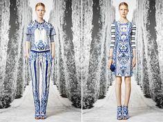 Oh, wow- Don't they look like Dresden Porcelain?  Love the pants outfit and those matching shoes.  Way cute.  By Roberto Cavalli-the 2013 Resort Collection.