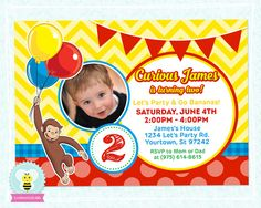 Curious George Birthday Invitations Template Luxury Curious George Invitations by Luvibeekids Co – Luvibeekidsco Event Invitation Templates, Birthday Invitation Card Template, 50th Birthday Party Invitations, Printable Invitations, Curious George Party, Curious George Birthday, Curious George Invitations, Second Birthday Ideas, 2nd Birthday