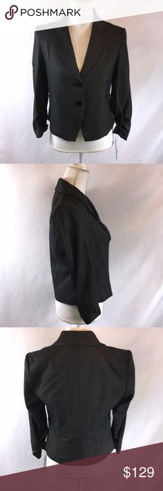 Amanda & Chelsea Signature Ruched Sleeve Jacket 10 Amanda & Chelsea Black Signature Ruched Sleeve Jacket Size 10 New With Tags Length is 26 inches in the back and 21 inches in the front perfect blazer jacket for work or professional Amanda & Chelsea Jackets & Coats Blazers