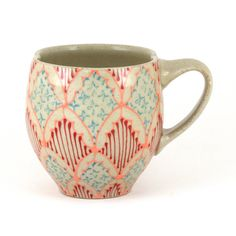 Wheel Thrown Ceramic Cappuccino Mug, Coffee Mug - Cup with Pink, Turquoise and Red Pattern
