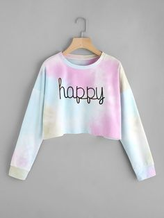 To find out about the Drop Shoulder Water Color Crop Sweatshirt at SHEIN, part of our latest Sweatshirts ready to shop online today! Komplette Outfits, Crop Top Outfits, Cute Girl Outfits, Kids Outfits Girls, Teenager Outfits, Cute Casual Outfits, Girls Fashion Clothes, Teen Fashion Outfits, Fashion Women