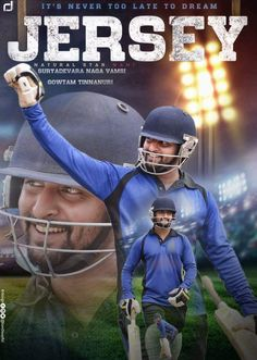 Natural Star Nani new movie Titled JERSEY with the tagline, 'It's never too late to dream'. Jersey First look poster seems actor Nani as a cricketer Movie Titles, Hd Movies, Movie Posters, Never Too Late, Avengers Cartoon, Download Free Movies Online, Latest Trailers, Movie Info, Shahid Kapoor
