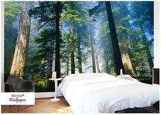 Natuur Behang Slaapkamer : Goedkope aangepaste mural behang 3d mountain fog bos wolf dier