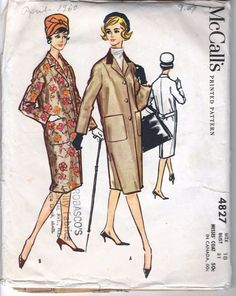 McCall's 4827 Coat Single Breasted 50s 1958 c/c Sz10/31 end c16.5+8.61 US12.26+ 2/9/17