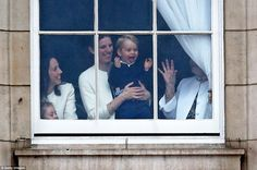 All smiles: The prince, who will turn two next month, was seen for the first time in this country last month when he arrived to visit mother Kate and new sister Princess Charlotte in hospital following her birth
