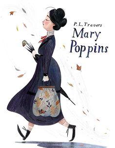 Mary Poppins, illustration by Júlia Sardà Gravure Illustration, Children's Book Illustration, Character Illustration, Mary Poppins, Book Cover Design, Book Design, Illustrations Posters, Fairy Tales, Concept Art