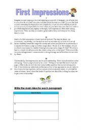 English worksheet: First Impression - Reading Passage
