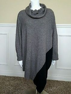Brown Black Eileen Fisher X Large Asymmetrical Cowl Neck Wool Sweater Pancho New