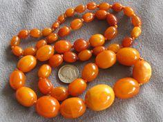 "Antique Natural Egg Yolk Butterscotch Amber Beaded 28"" Necklace (52.8 Gms)"