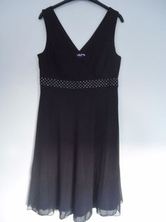 Womens Next LBD Black Silver Sequin Party Skater Sleeveless Dress Size 16
