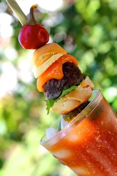 Cheeseburger Bloody Mary  -- topped with a sweet cherry pepper... #summerfest