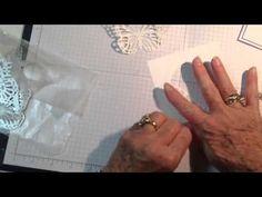 cardmaking video tutorial: butterfly in-lay ... die cut lacy butterflies fill an oval window ...