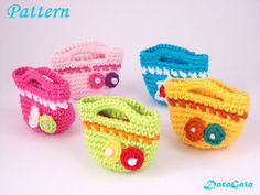 Crochet mini tote bag Pattern easy crochet pattern by PatternsDG