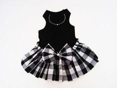 Black and White Color Block Check Dress Dog Dresses by miascloset