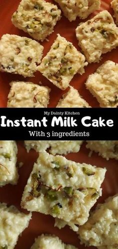 Instant milk cake is an easy and delicious dessert that is made quickly in 5 minutes with only 3 ingredients. Learn how to make kalakand Milk Cake Recipe Indian, Easy Indian Dessert Recipes, Indian Desserts, Sweets Recipes, Indian Food Recipes, Indian Sweets, Indian Dishes, Puri Recipes, African Recipes