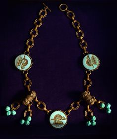 1920's Egyptian Revival Sphinx Necklace, Turquoise Glass, Brass