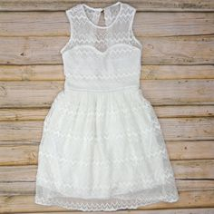 Zig Zag Lace Dress - White