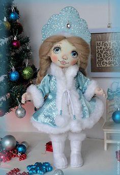Купить Снегурочка, прямо из сказки. - голубой, снегурочка, кукла-снегурочка, снегурочка текстильная, подарок на новый год