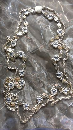 Vintage long gold chain with crystals Boho hippy style