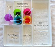 Eye Dropper Activity Tray - fine motor, art and science rolled into one fab activity! Cutlery tray from Ikea Sensory Activities, Learning Activities, Preschool Activities, Preschool Colors, Preschool Art, Reggio Emilia, Science Projects, Science Experiments, Kindergarten Science
