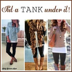A long tank for layering is an essential part of a leggings outfit. One rule of styling leggings is that the top should be long enough to cover your rear end. While a tunic is usually fine by itsel…