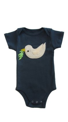 Dove of Peace: Hand Stitched Organic Cotton Mushpa + Mensa Designer Onesie With Custom EcoFi Felt Appliques OrganicCotton My Daughter Birthday, To My Daughter, Felt Applique, Recycle Plastic Bottles, Hand Stitching, Appliques, Cool Shirts, Really Cool Stuff, Organic Cotton