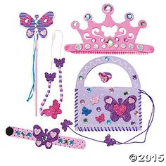 Butterfly Princess Accessories Craft Kit - Lots of Princess theme decorations supplies @ Oriental Trading
