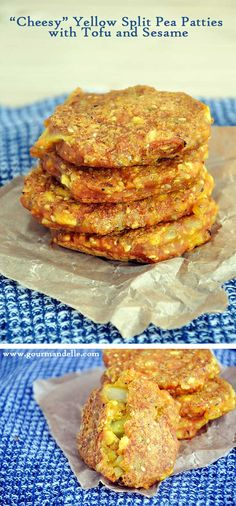 "These ""cheesy"" yellow split pea patties with tofu and sesame are some of the best patties I've ever made! They're vegan, but they have the consistency and taste of cheesy patties. You definitely must give them a try! 