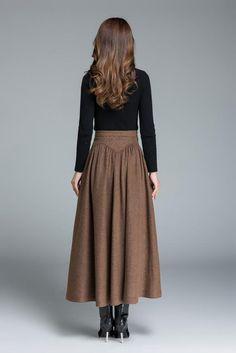 6cf8d91ecc Wool skirt brown skirt long skirt women skirt vintage