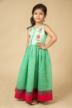 Linen satin york and chaderi frock embellished with block print and hand embroidery. Item number KG15-21