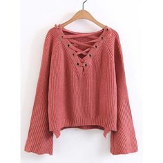 Lace Up Plunge Neckline High Low Sweater (1,345 INR) ❤ liked on Polyvore featuring tops and sweaters
