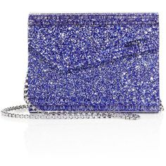 Jimmy Choo Candy Glitter Acrylic Convertible Clutch ($750) ❤ liked on Polyvore featuring bags, handbags, clutches, apparel & accessories, cobalt, jimmy choo purses, glitter handbag, flap handbags, lucite purse and acrylic clutches