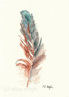 5x7 Original Watercolor Rooster Bird Feather Painting, Slate Blue, Jade, Green, Brown