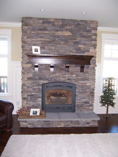Stone Tile Hearth, Medium Dark Brown Mantel with supports