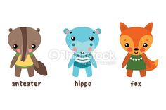 Cartoon characters or set of animals. Hippo or hippopotamus, river-horse or behemoth, ant-eater or ant anteater, fox or cartoon tod.May be used for vector animal illustration,set of child cartoon pets