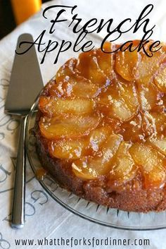 French Apple Cake ¼ cup (1/2 stick) unsalted butter 1¾ cups sugar ⅓ cup water ¾ teaspoon ground cinnamon 2 large apples (your choice), cored, and cut into eights 1 cup all purpose flour 1 teaspoon baking powder ¼ teaspoon salt 3 large egg yolks 2 large eggs 2 tablespoons frozen apple juice concentrate 2 teaspoons vanilla ½ cup (1 stick) unsalted butter, melted