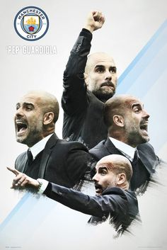 Manchester City- Pep Guardiola Sports Poster - 61 x 91 cm Pep Guardiola, Soccer Fans, Soccer Players, Manchester City Wallpaper, Posters Uk, Sports Posters, Football Icon, Football Soccer, Identity