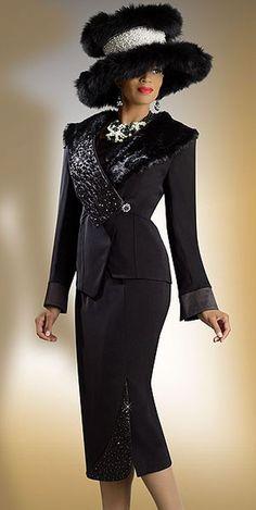 women's church suits and hats | Donna Vinci 11133 Womens Black Church Suit with Faux Fur image