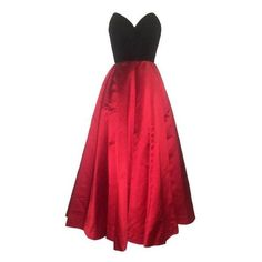 Oscar de la Renta Vintage 1990s Black Velvet Red Satin Ball Gown... ❤ liked on Polyvore featuring oscar de la renta