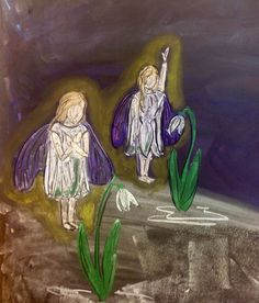 Chalkboard drawing, snow drop fairies, first grade, waldorf methods, cos, circle of seasons charter school, ms Sherman, fairy tale