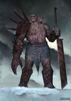 Two-Headed Undead by Oleg Bulakh on ArtStation Monster Art, Monster Concept Art, Fantasy Monster, Monster Design, Fantasy Kunst, Fantasy Rpg, Dark Fantasy Art, Fantasy Artwork, Anime Fantasy