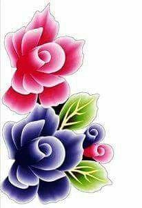 Flor azul e rosa