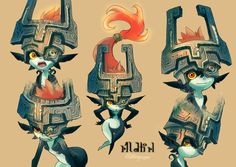 Art by つゆが‏ Midna from Legend of Zelda The Legend Of Zelda, Legend Of Zelda Breath, Female Character Design, Character Design References, Character Art, Chibi, Princesa Zelda, Link Cosplay, Zelda Twilight Princess