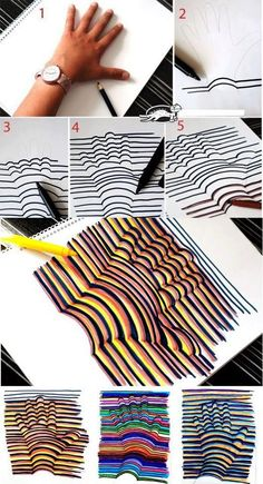 3D hand art activity.  In Portuguese.  Use google translate.